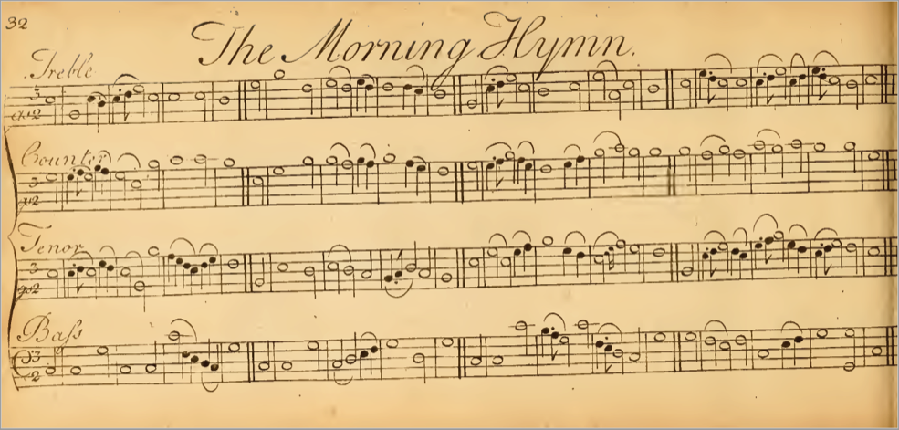 "Page 32 (Morning Hymn) from ""Urania : or a choice collection of Psalm-tunes, anthems, and hymns…"""