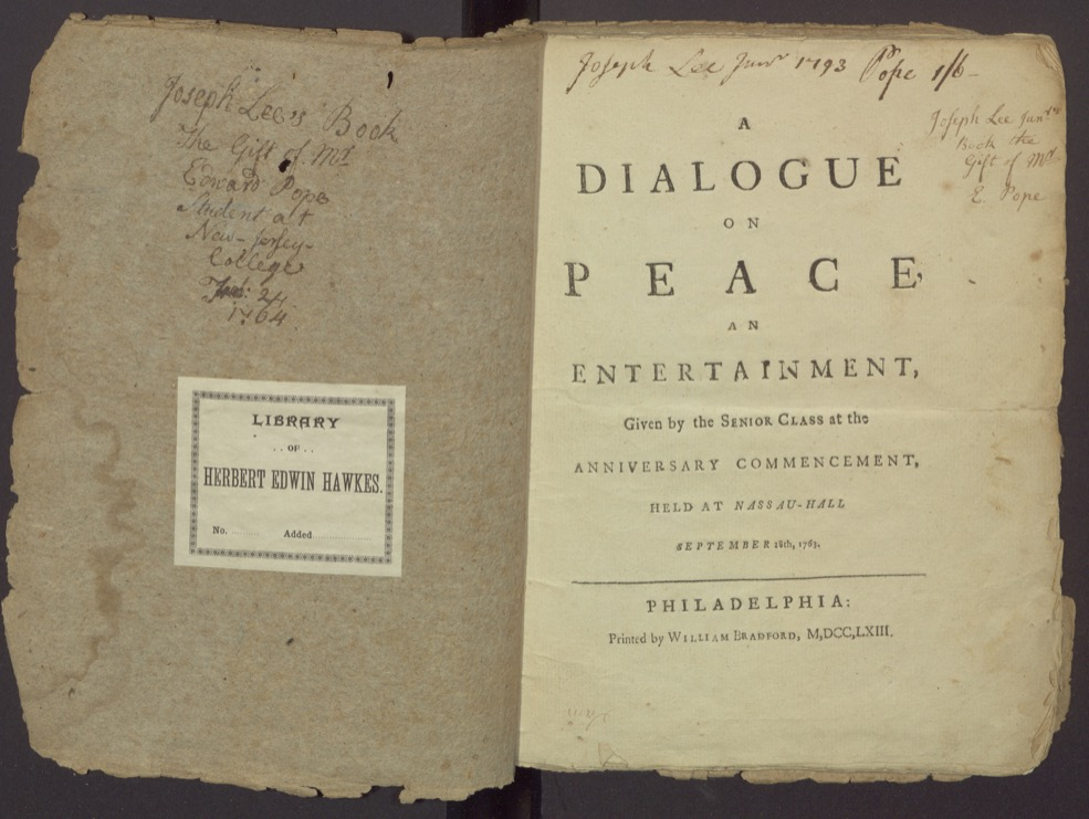 "Inside Cover and Title page from ""A Dialogue on Peace."""