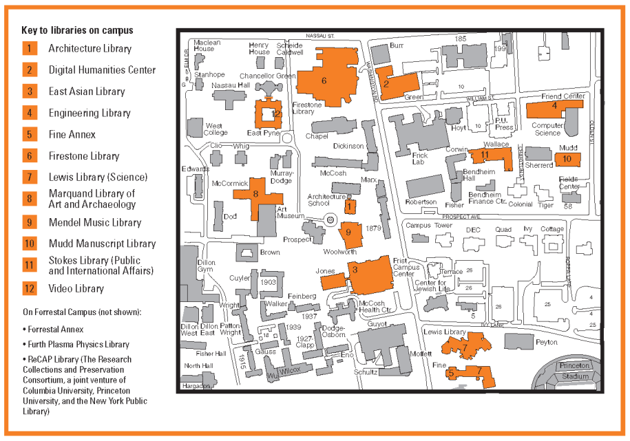 map of campus libraries
