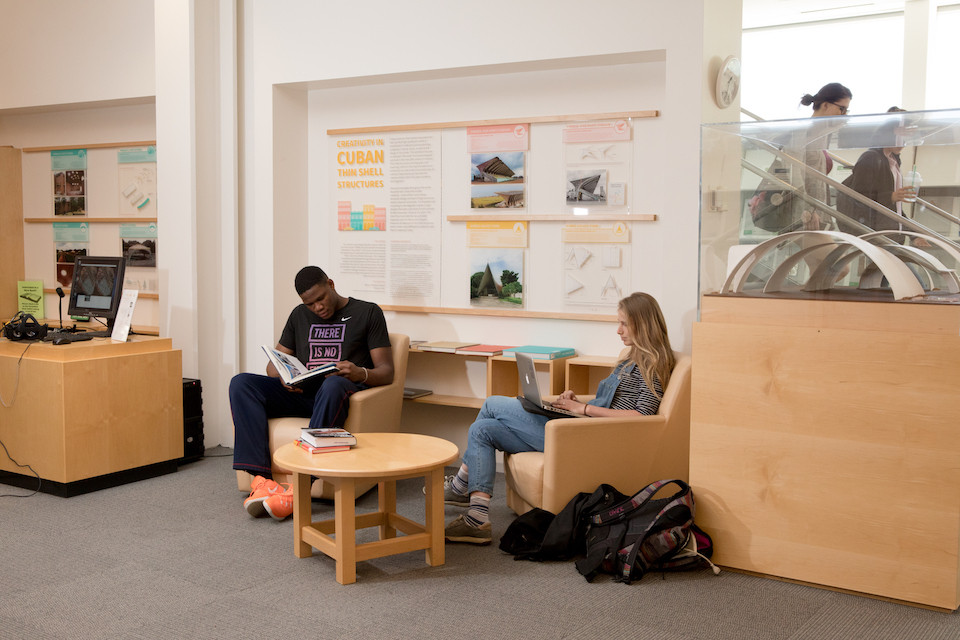Students in the Engineering Library