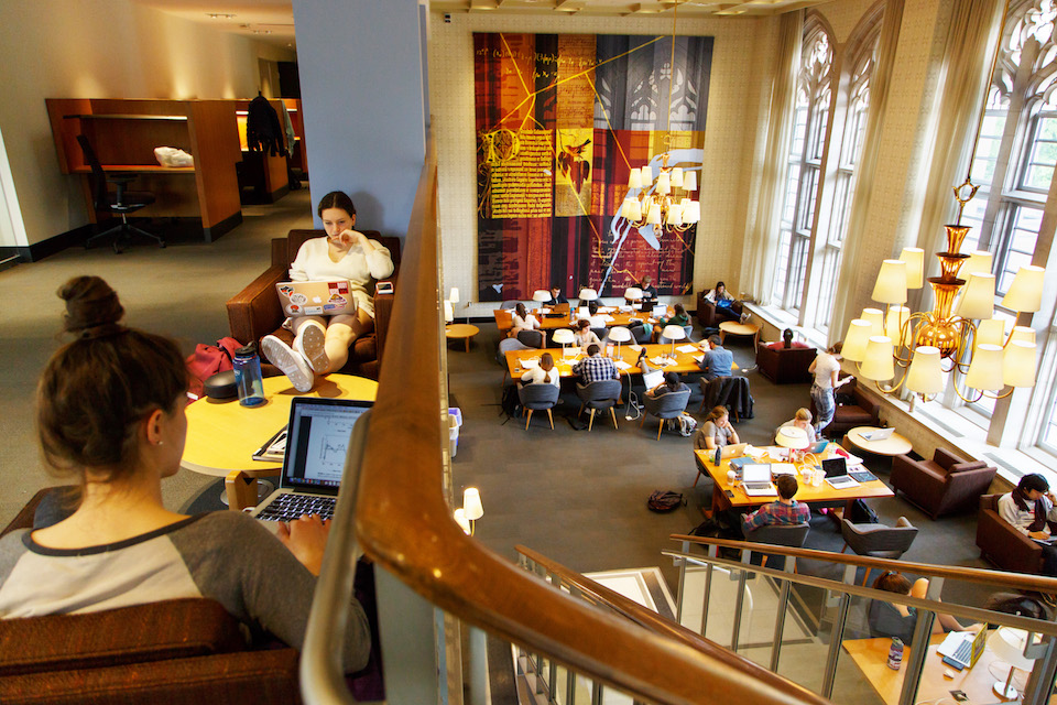 Students in the Firestone Library
