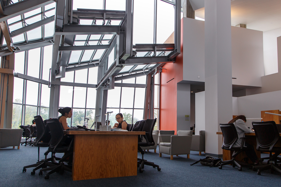 Students in the Lewis Science Library