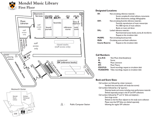 Mendel Music Library Floorplan for First Floor