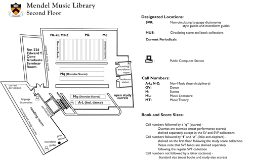 Mendel Music Library Floorplan for Second Floor