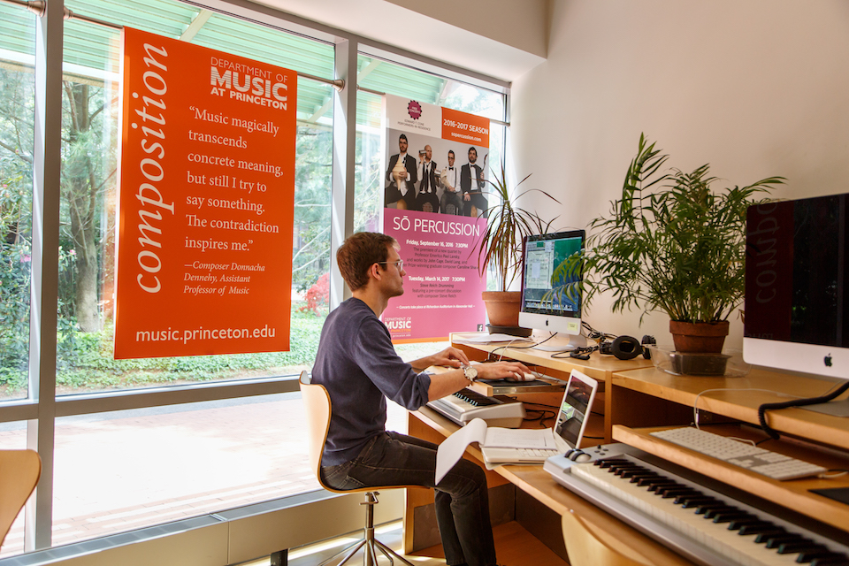Student in the Mendel Music Library