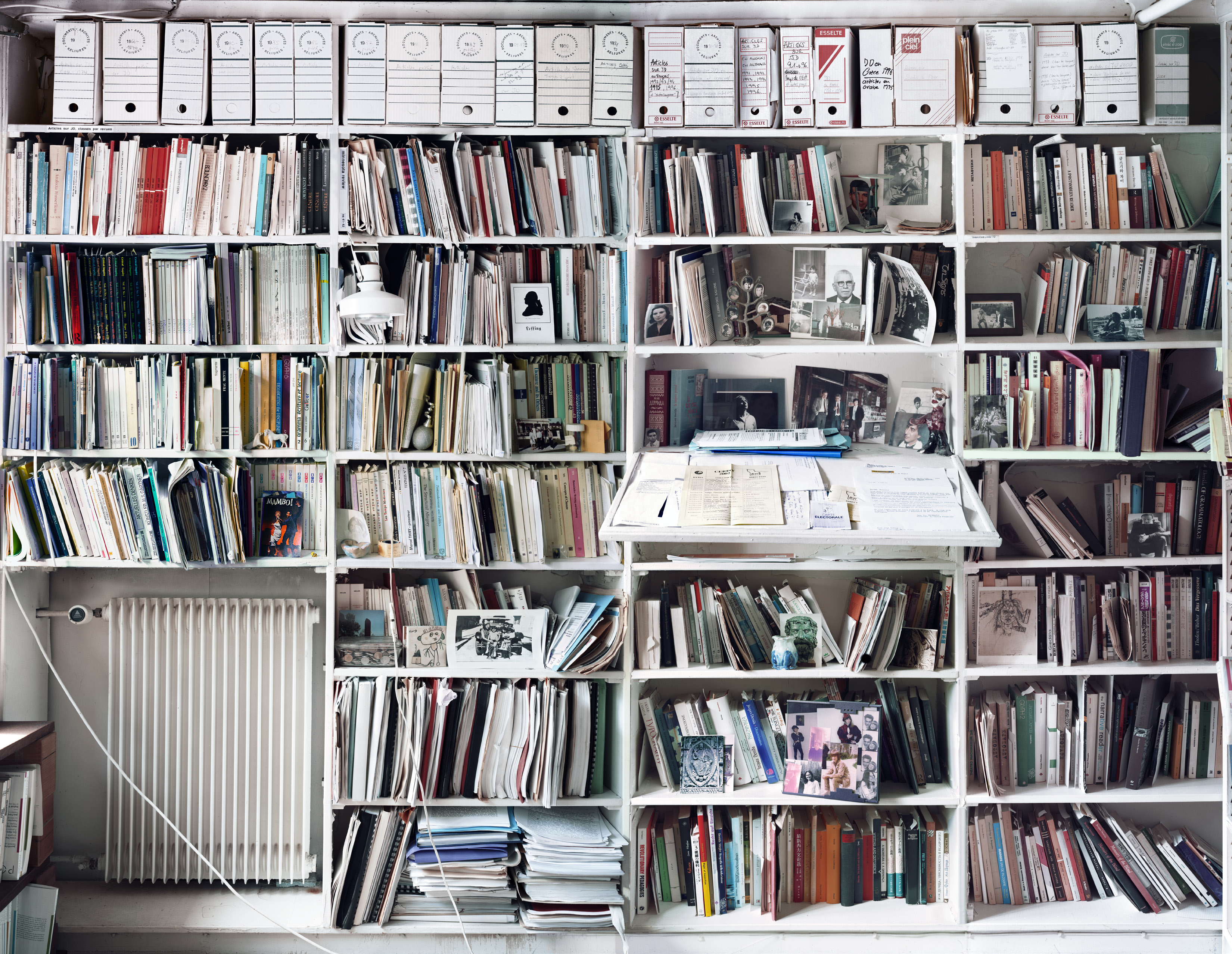 A view of part of Jacques Derrida's library in his home in Ris Organgis.