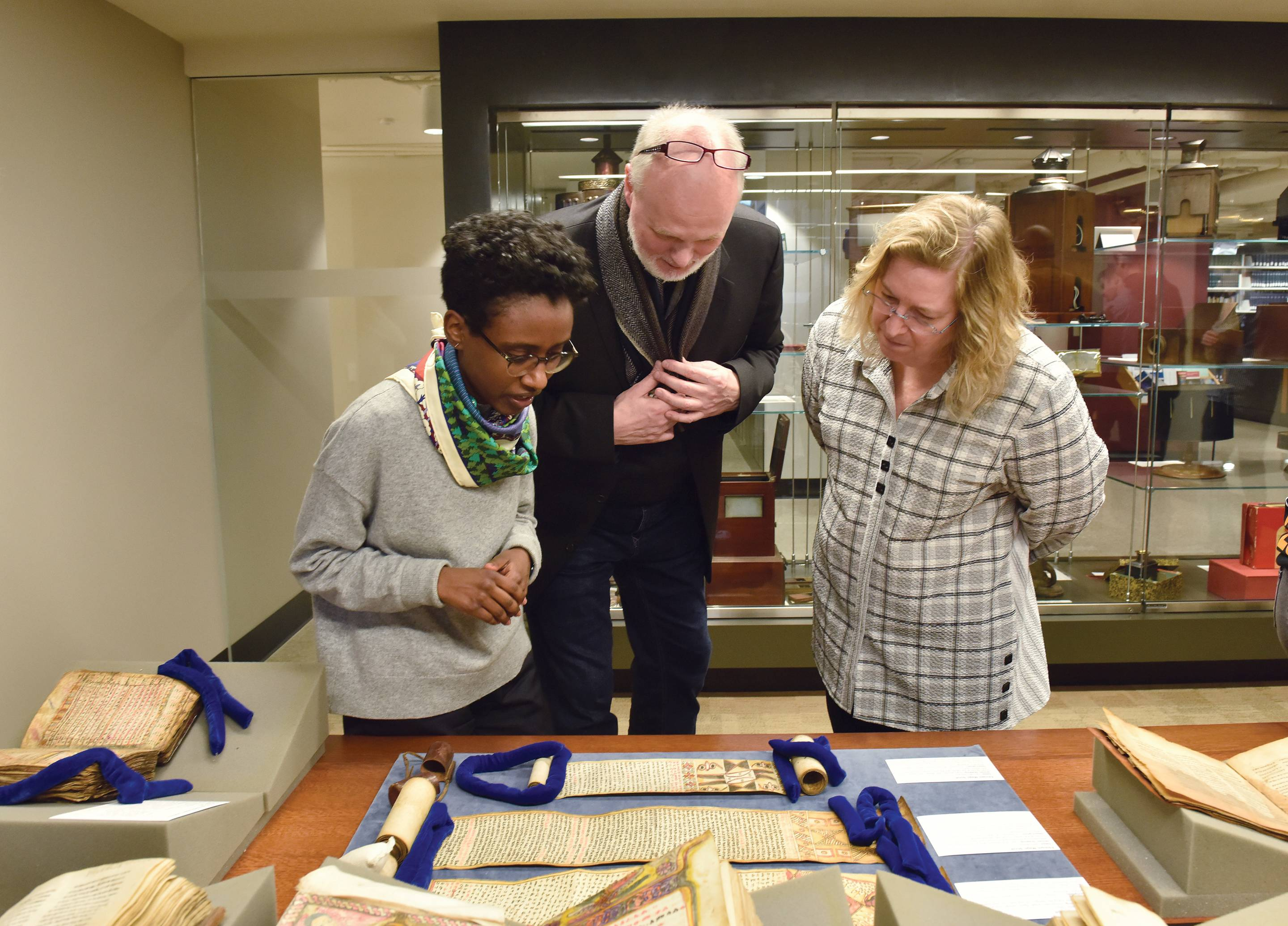 Looking at textual amulets on display