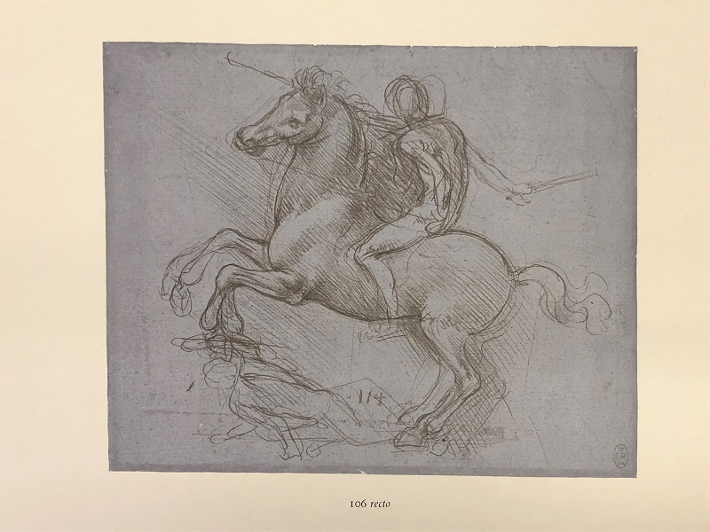 Design for an equestrian monument, ca.1485-1488. Metalpoint on blue prepared paper, Melzi 114. RCIN 912358. Facsimile from Keele