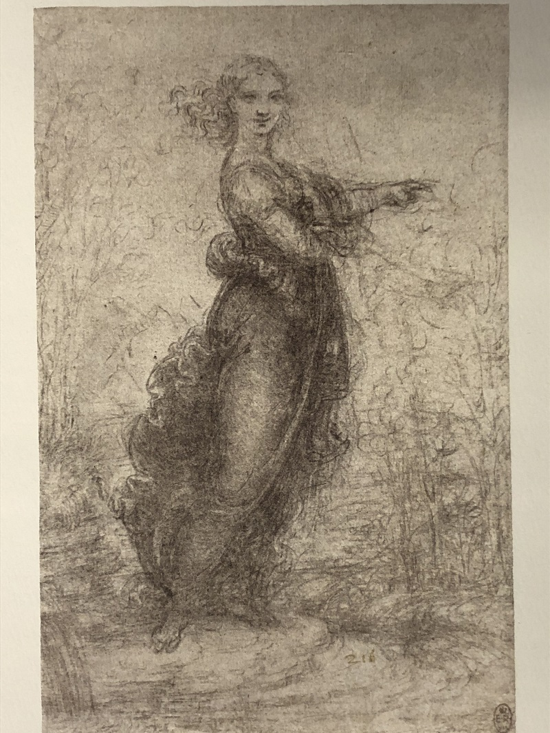 Woman in a landscape, ca. 1517-1518. Black chalk. Melzi 216. RCIN 912581. Facsimile from Keele and Pedretti (1982-1987), vol. 1,