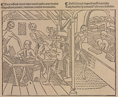 Image of an early printing shop (Lyons, 1499)