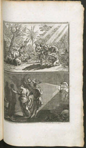 "The Discovery of Drawing,"" after Joachim von Sandrart, used in both the original edition of L'Academia todesca… and Volkmann's T"