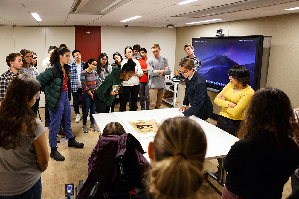 Students examine materials in Special Collections