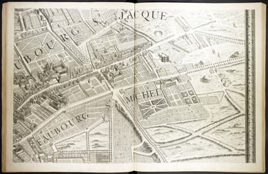 The suburbs of Paris: Faubourgs St. Jacques and St. Michel from Turgot's Plan de Paris: commencé de l'année 1734, Paris: s.n., 1