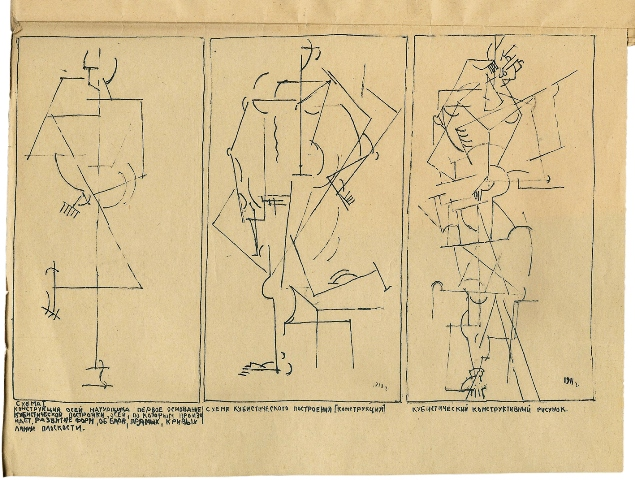 Malevich's lithographs of schematic drawings demonstrating Cubist construction in On the New Systems in Art.