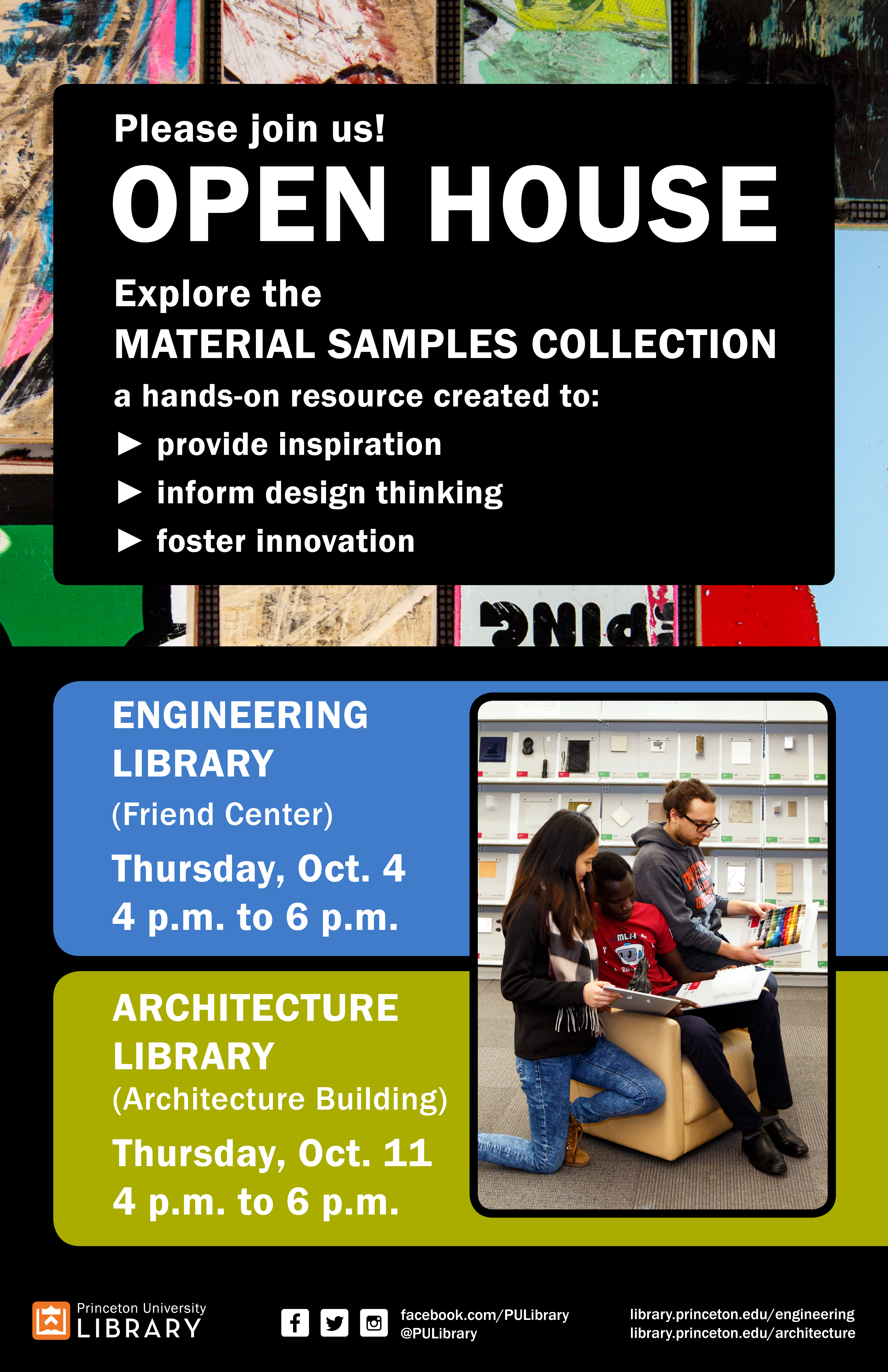 Material Samples Open House poster