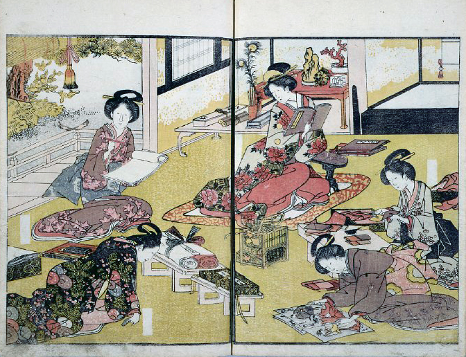Scene of the samurai class women from the  British Museum copy of Ehon imayō sugata (1979,0305,0.194.1). Note that in this sligh