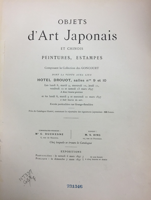Catalog of the auction of Goncourt's Japanese collection, held in 1897.