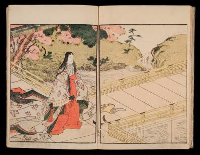 In the opening scene of the first volume, a woman of the nobility in silk robes strolls through a garden with flowering cherry t