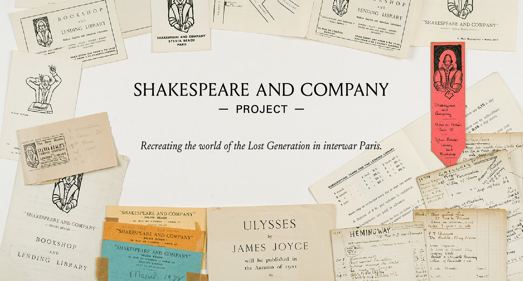 "Materials from the Sylvia Beach Papers, superimposed with the text ""Shakespeare and Company Project"""