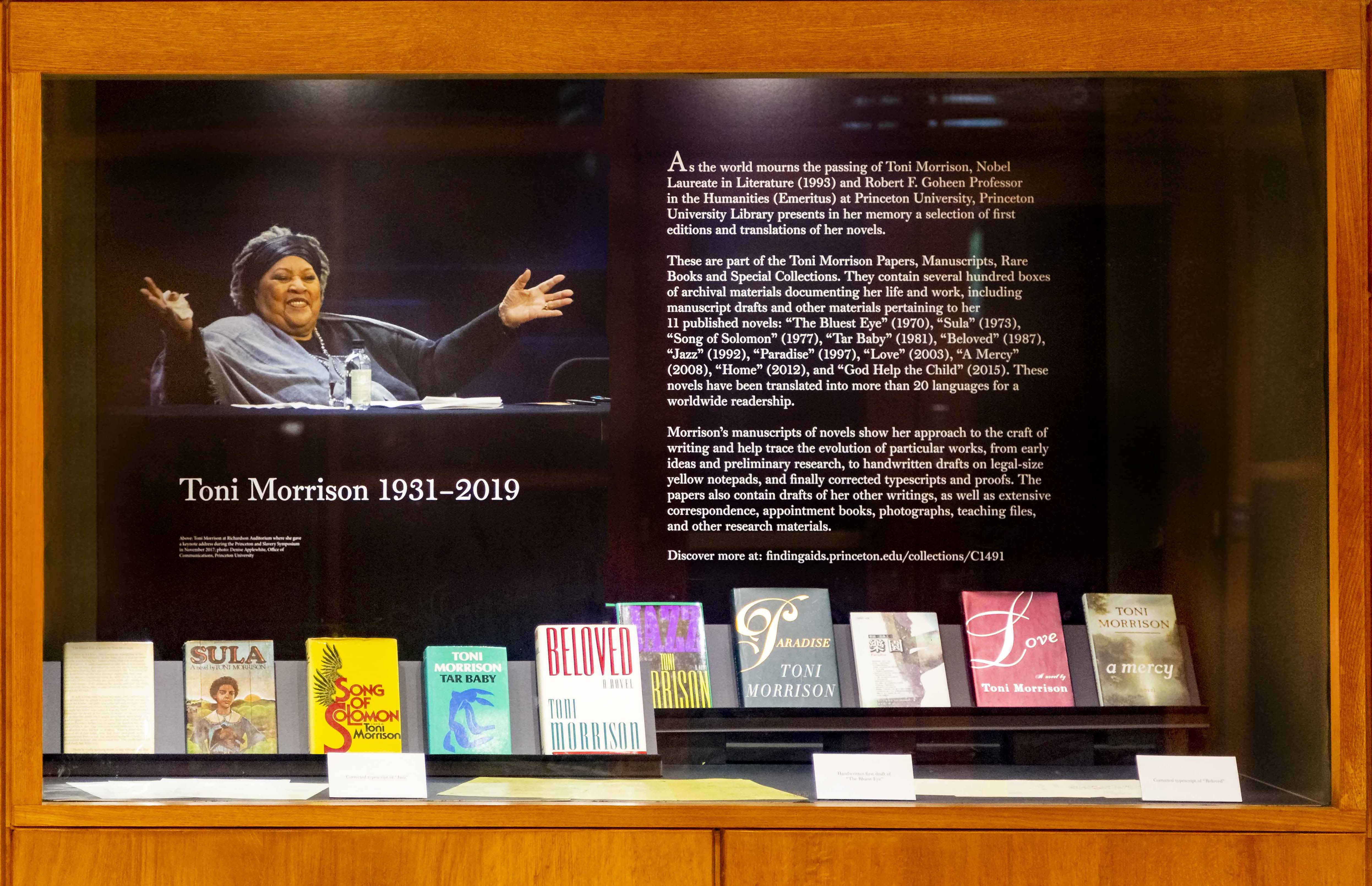 Toni Morrison exhibition at Firestone Library