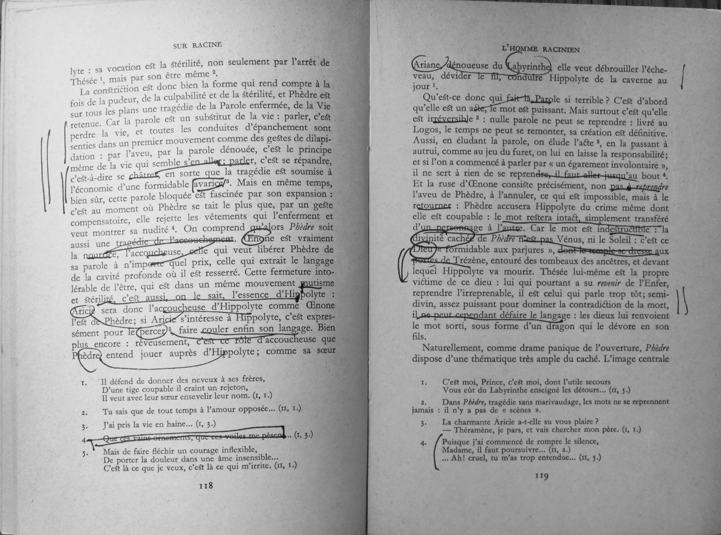 Derrida's annotations on a page from Sur Racine by Roland Barthes (Paris: Editions du Seuil, 1963).