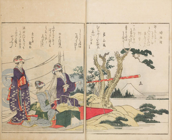 Telescopes and other Western inventions often appear in woodblock prints of this period, creating a bit of excitement through th
