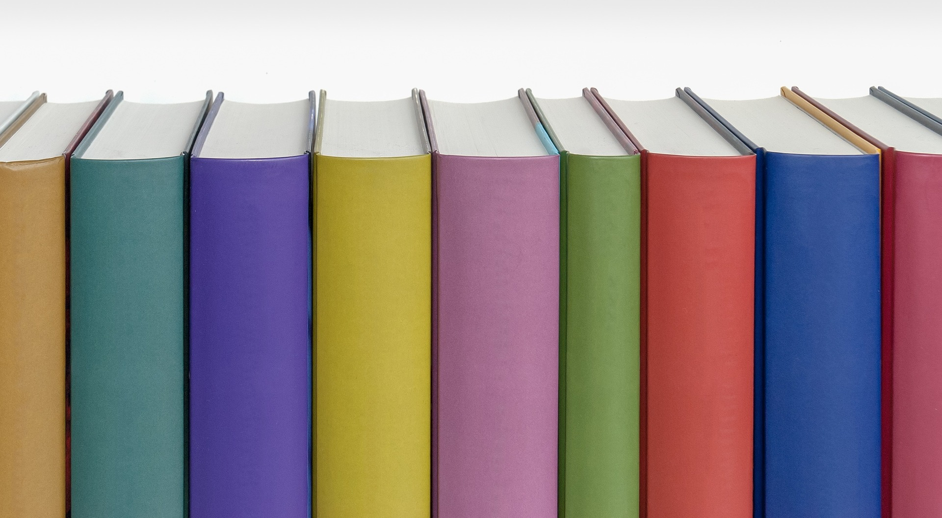 Stock image of books in multiple colors
