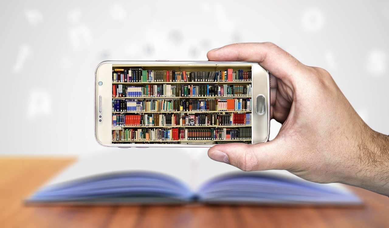 library on a smartphone