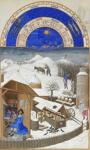 Très riches heures du duc de Berry, illuminated by the Limbourg brothers around 1413–16: The calendar for February. Original man