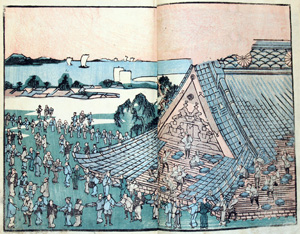 In this scene, repair of the roof has begun on the Teppōzu Inari Shrine, providing work for hundreds of men. The shrine still ex