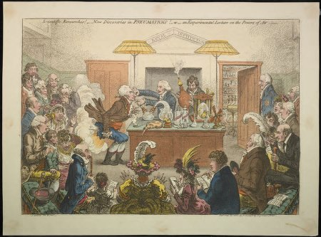 A satire on the fashionable lectures at the Royal Institution, showing Thomas Young(?), doing an experiment, holding Sir J.C. Hippisley by his nose, and applying to his mouth a tube from an apparatus in which a gas has been made.