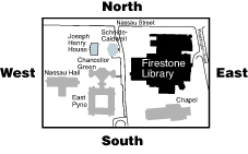 Postion of Firestone on Campus, bordered on the north by Nassau Street, and on the East by Washington Road