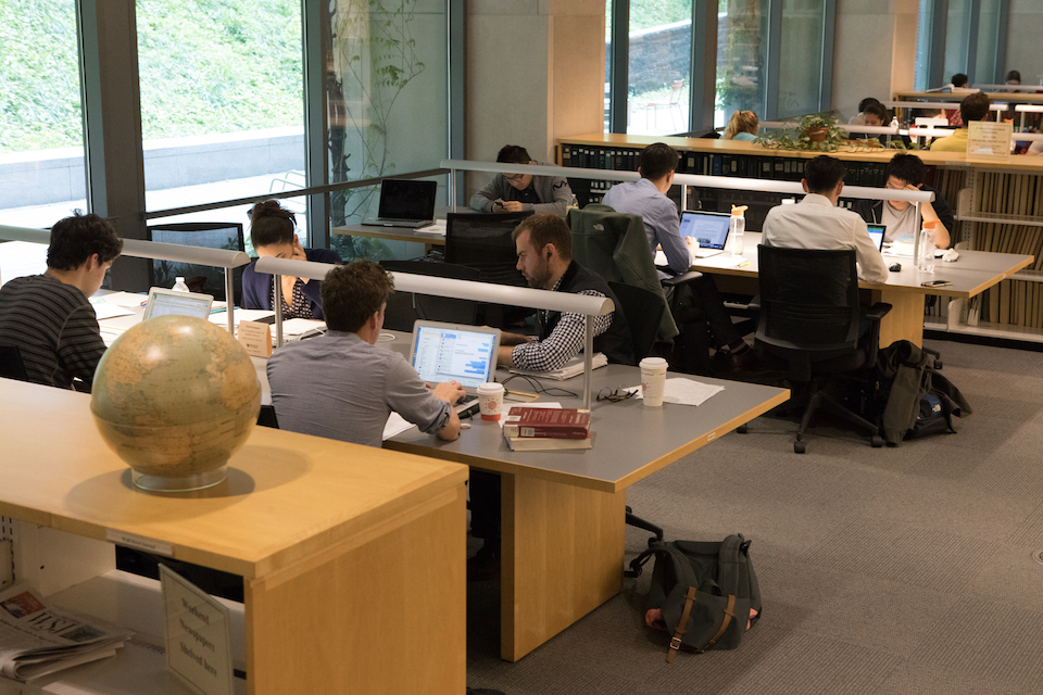 Students in the Stokes Library