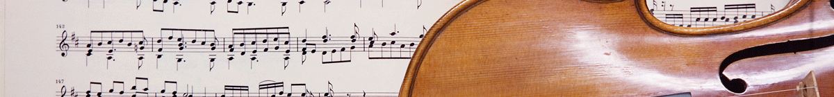 Sheet music and violin as background for Mendel Music Library branch site header