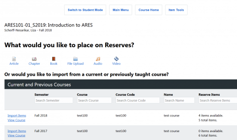 Screenshot showing a list of courses with items that may be imported.