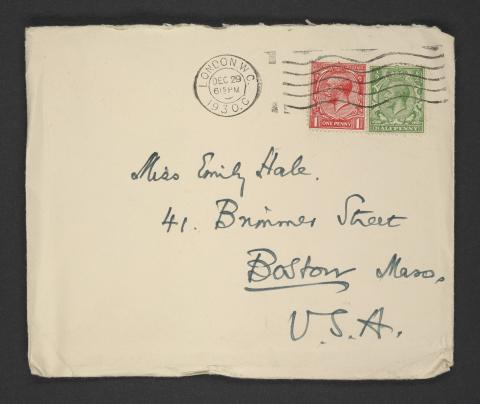 Image of an envelope addressed to Emily Hale, handwritten by T.S. Eliot