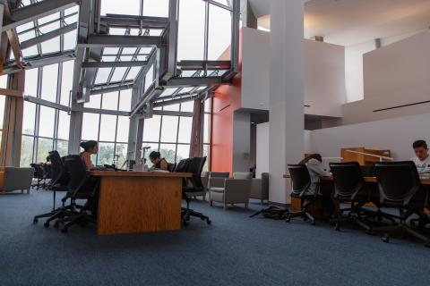 Undergraduate students in the Lewis library
