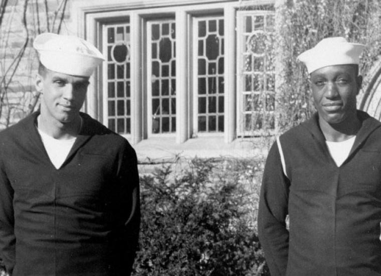 James Everett Ward '47 and Arthur Jewell Wilson '47 outside Laughlin Hall, 1946.