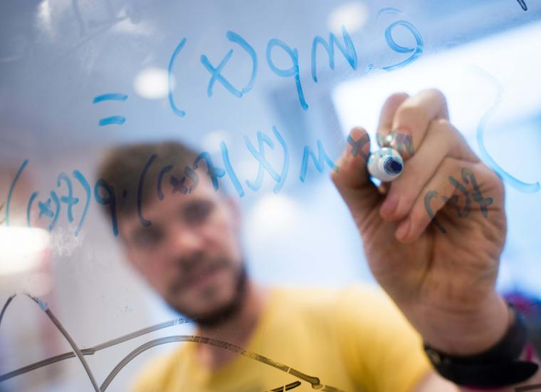 Stock photo of student working with data