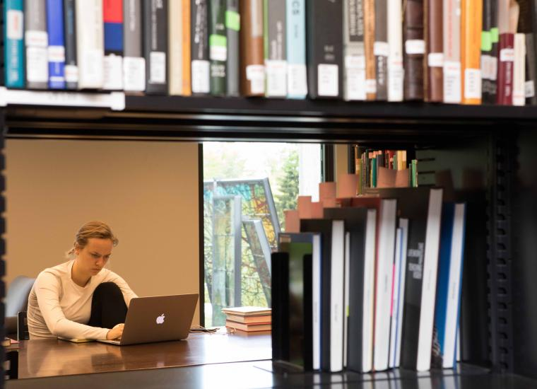 Student studying at Marquand Library