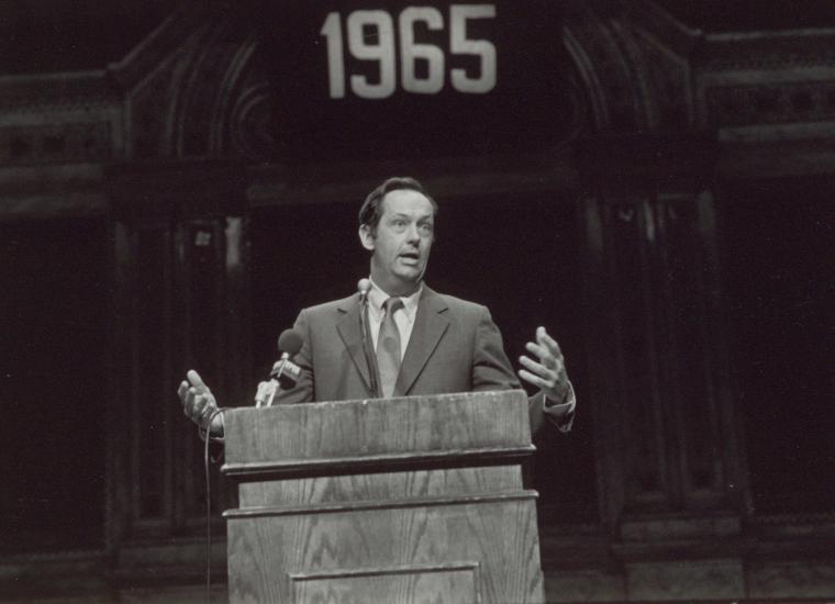 Bill Bradley delivering speech