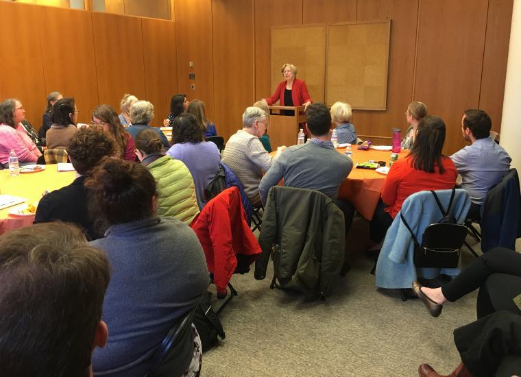 Nancy Weiss Malkiel addressing audience on April 4