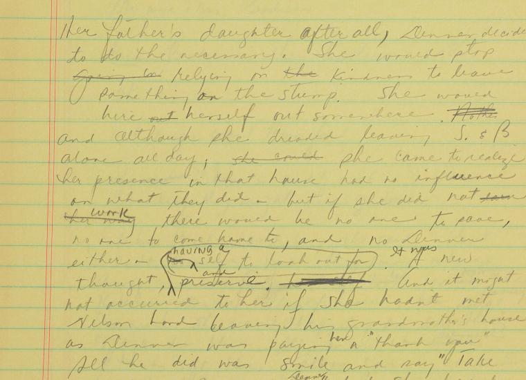 Page from manuscript draft of Beloved by Toni Morrison