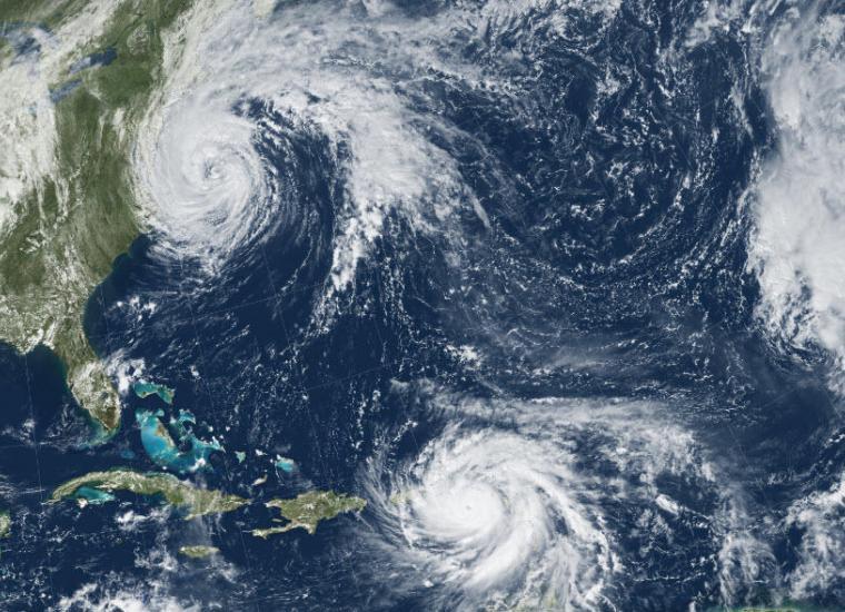 Satellite image of Hurricane Maria and Tropical Storm Jose. Source: NOAA & USGS