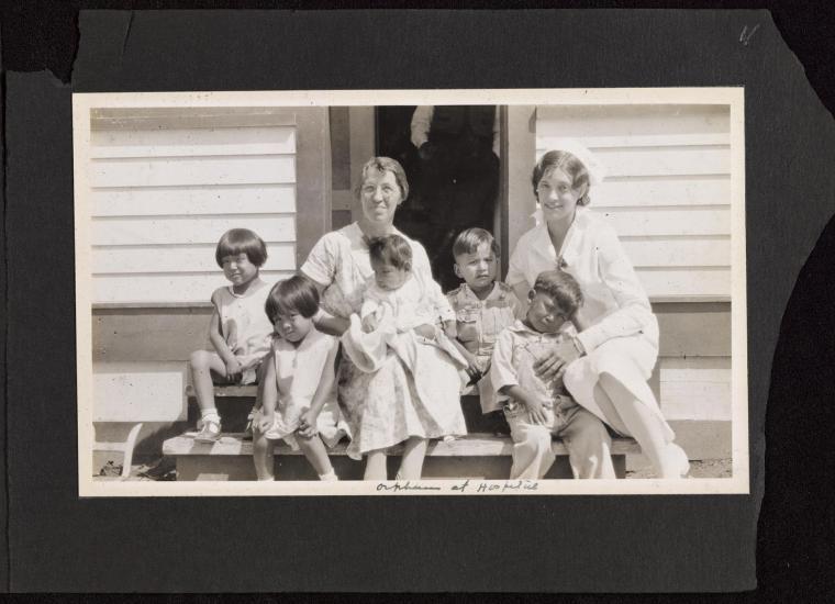 "Orphans at hospital."" Katharine Kilbourne Photograph Album of Jicarilla Apache Boarding School, Dulce, NM, 1931."