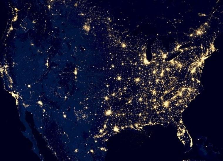 map of U.S. with city lights