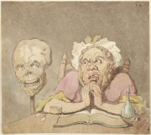 Rowlandson Drawing 3 woman with skull