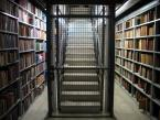 books and caged staircase