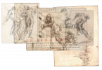 Collage combining eight separate scraps of Piranesi's papers, all fragments of many copies of the same printed title page