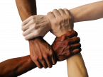 Stock image of racially diverse hands holding each other